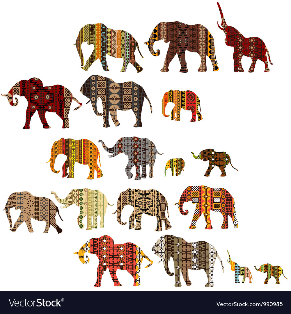 Set of patterned elephants in ethnic style vector | Price: 1 Credit (USD $1)