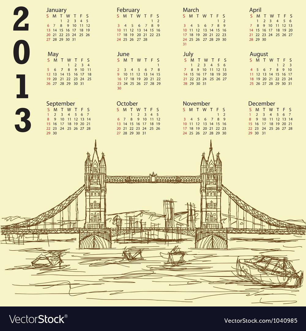 Tower bridge vintage calendar 2013 vector   Price: 1 Credit (USD $1)