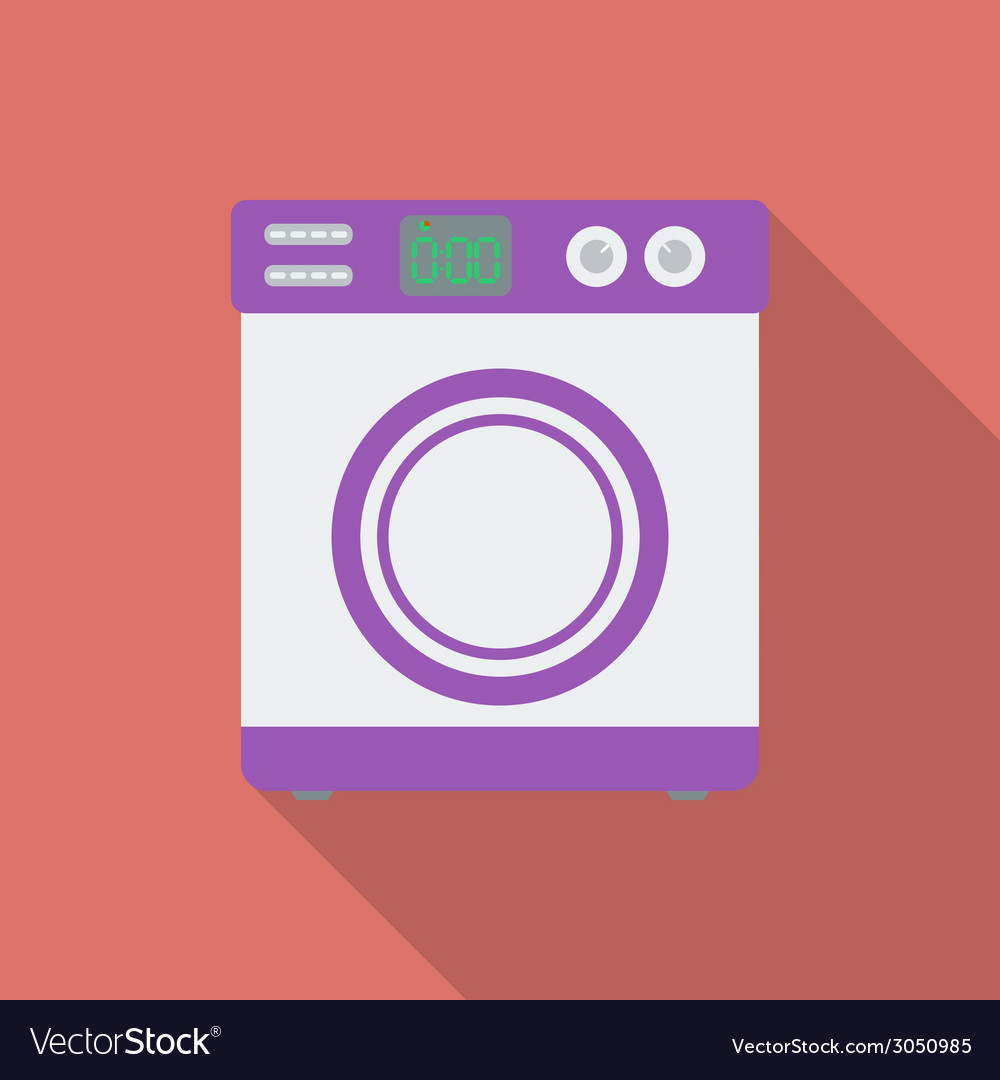 Washing machine icon modern flat style with a long vector | Price: 1 Credit (USD $1)