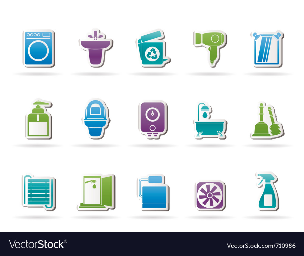 Bathroom and toilet objects and icons vector | Price: 1 Credit (USD $1)