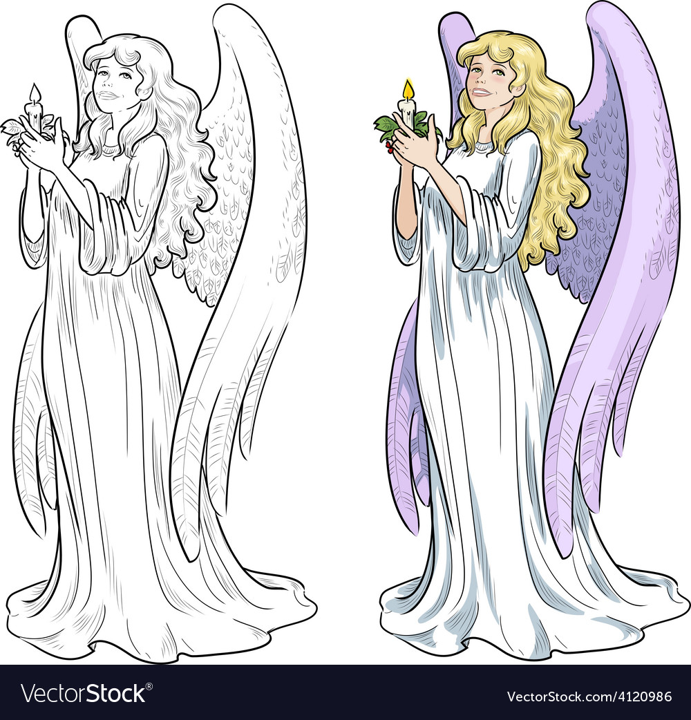 Beautiful caucasian female angel with candle vector   Price: 3 Credit (USD $3)