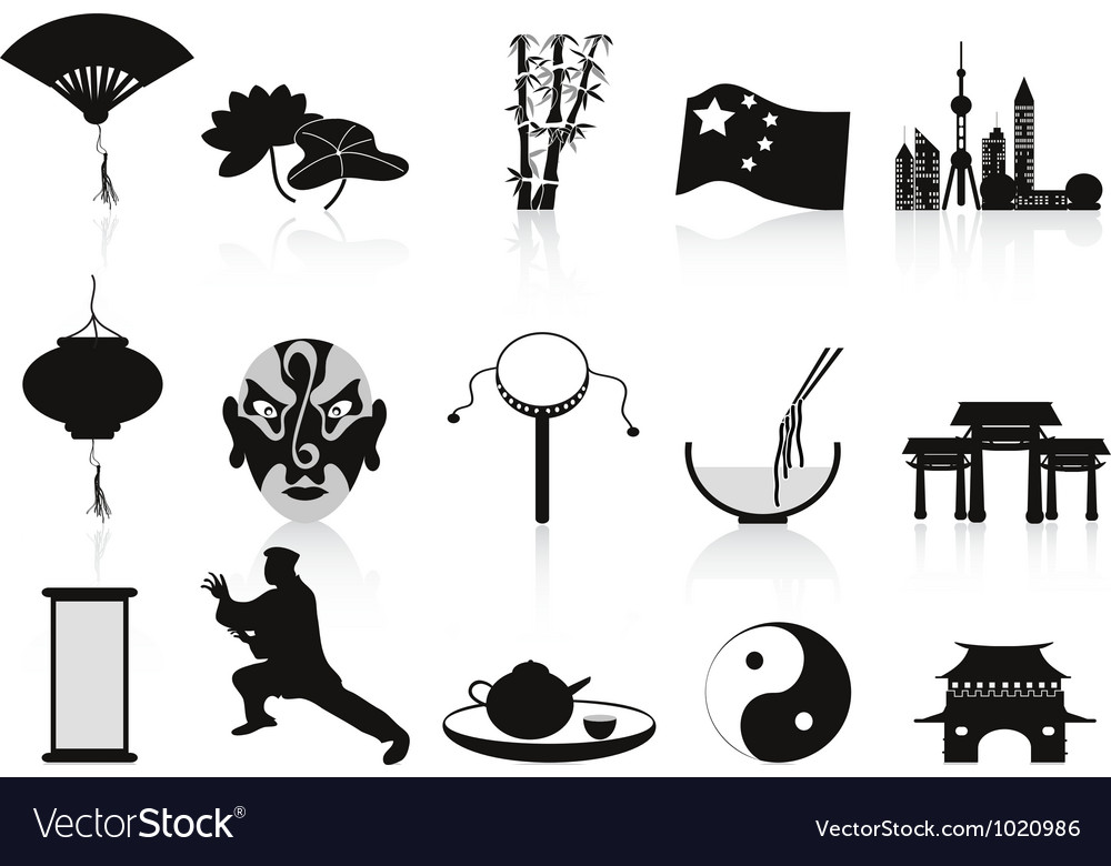 Black chinese icons set vector | Price: 1 Credit (USD $1)