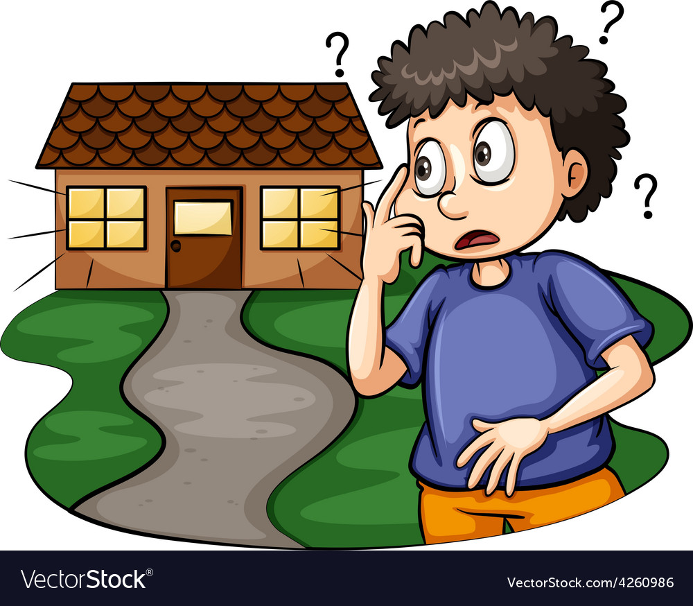 Boy outside the house vector | Price: 1 Credit (USD $1)