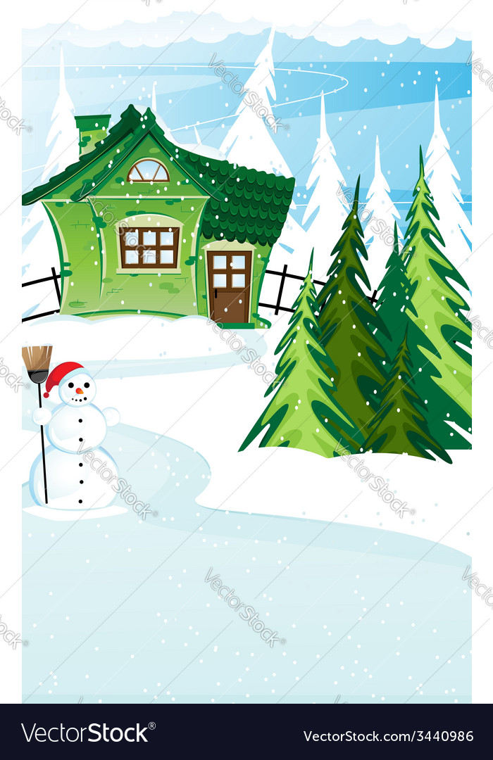 Brick house and snowman with santa hat vector | Price: 3 Credit (USD $3)