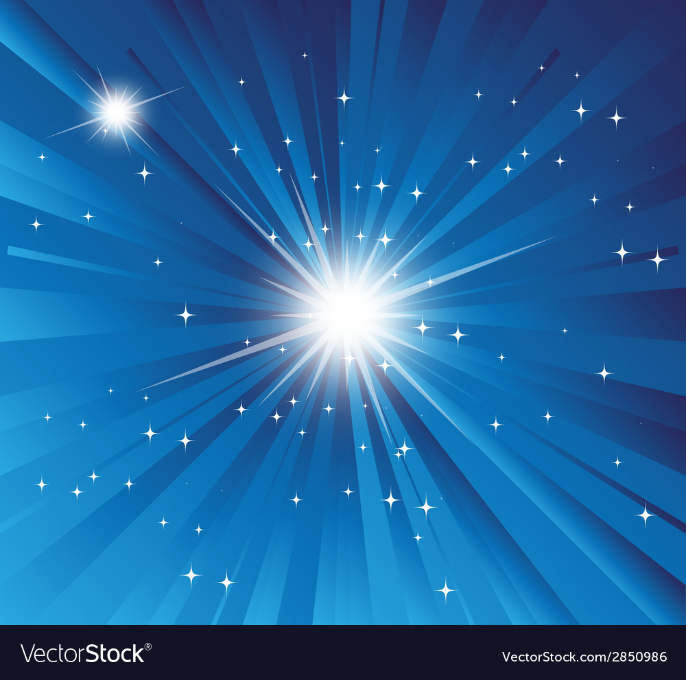 Burst blue background with ray and star light vector | Price: 1 Credit (USD $1)