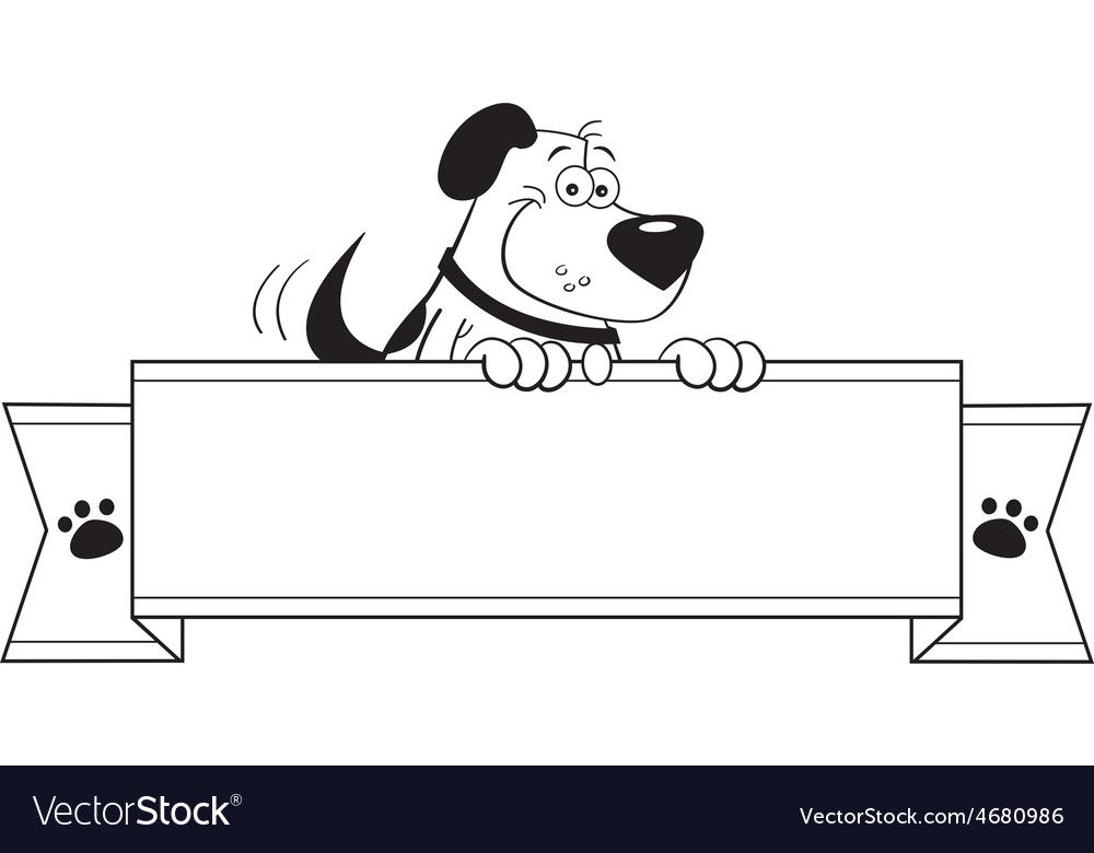 Cartoon dog holding a banner sign vector | Price: 1 Credit (USD $1)