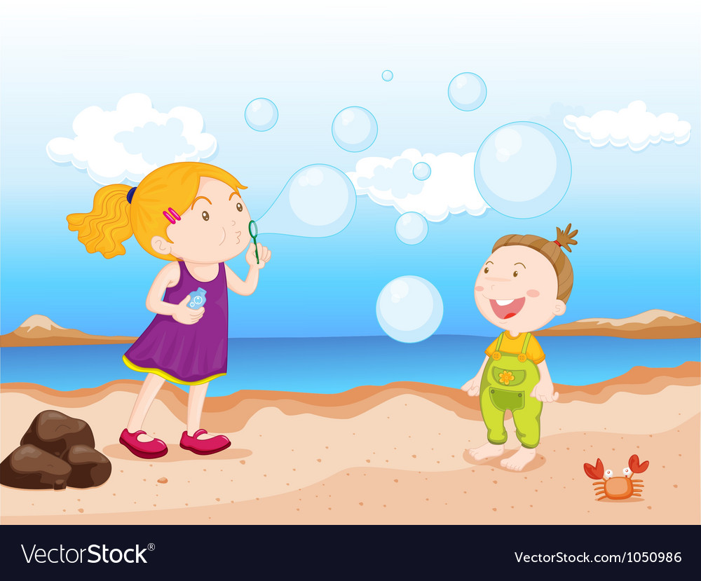 Kids at beach vector | Price: 3 Credit (USD $3)