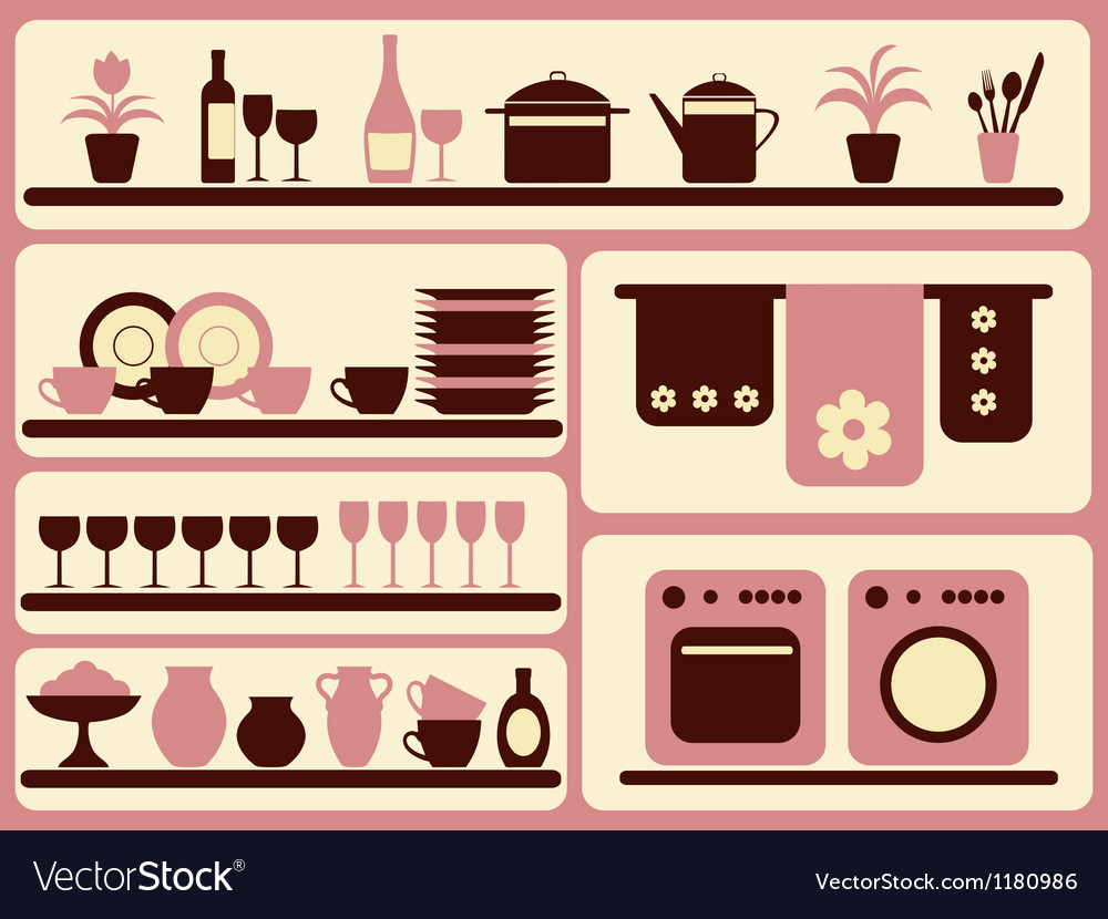 Kitchen ware and home objects set vector | Price: 1 Credit (USD $1)