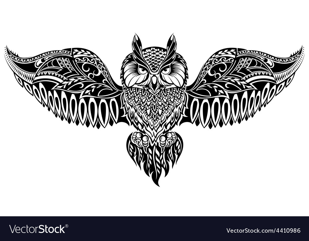 Owl in tribal style for mascot or tattoo vector | Price: 1 Credit (USD $1)