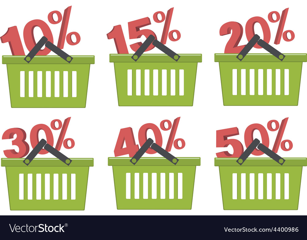 Percent discount in shopping basket vector | Price: 1 Credit (USD $1)