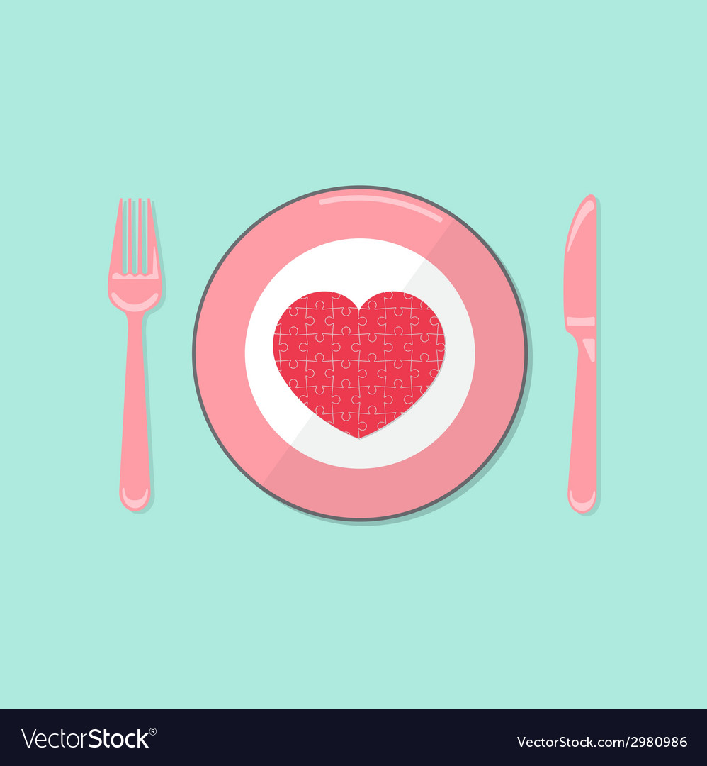 Puzzle heart on disk with fork and spoon vector | Price: 1 Credit (USD $1)