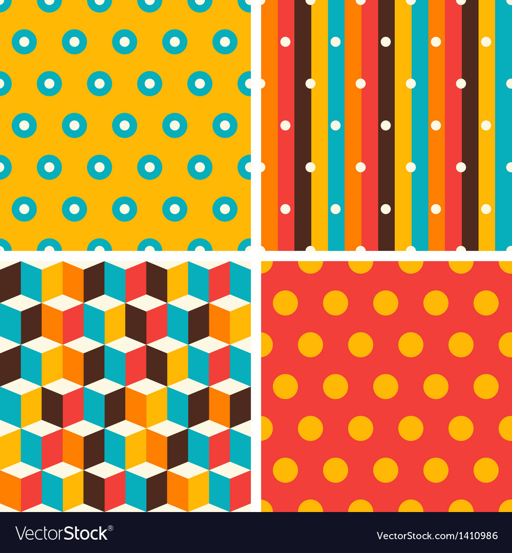 Seamless abstract retro geometric patterns set vector | Price: 3 Credit (USD $3)