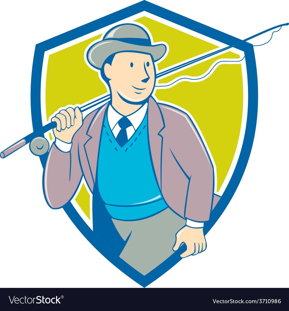 Vintage fly fisherman bowler hat shield cartoon vector | Price: 1 Credit (USD $1)