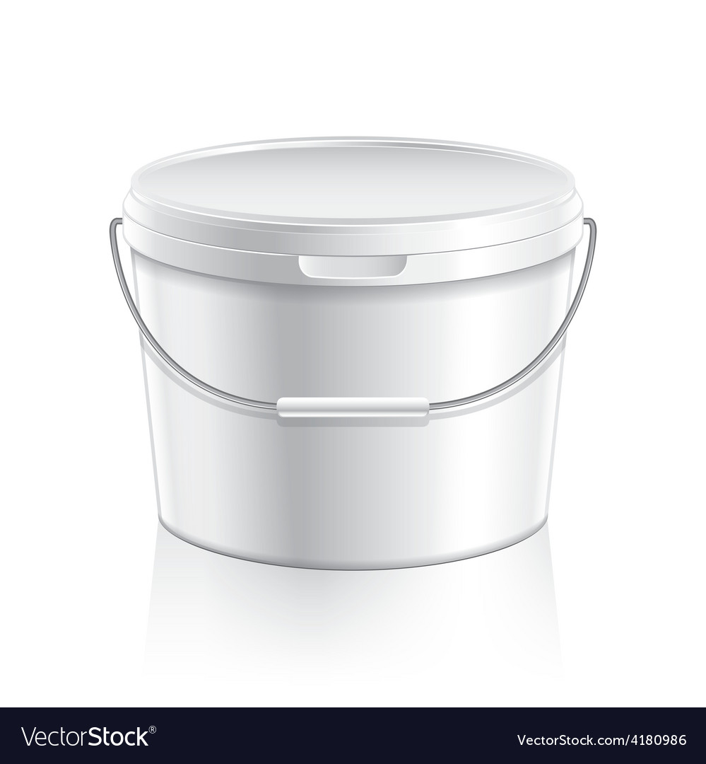 White plastic bucket for paint or food vector | Price: 3 Credit (USD $3)