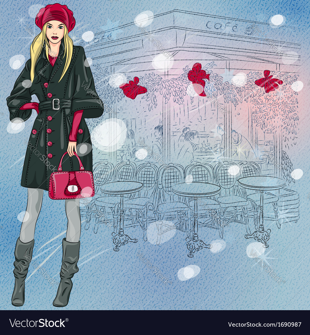 Beautiful fashionable girl near the parisian cafe vector | Price: 1 Credit (USD $1)