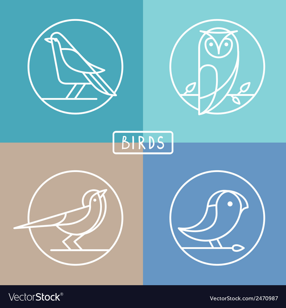 Bird icons in outline style vector