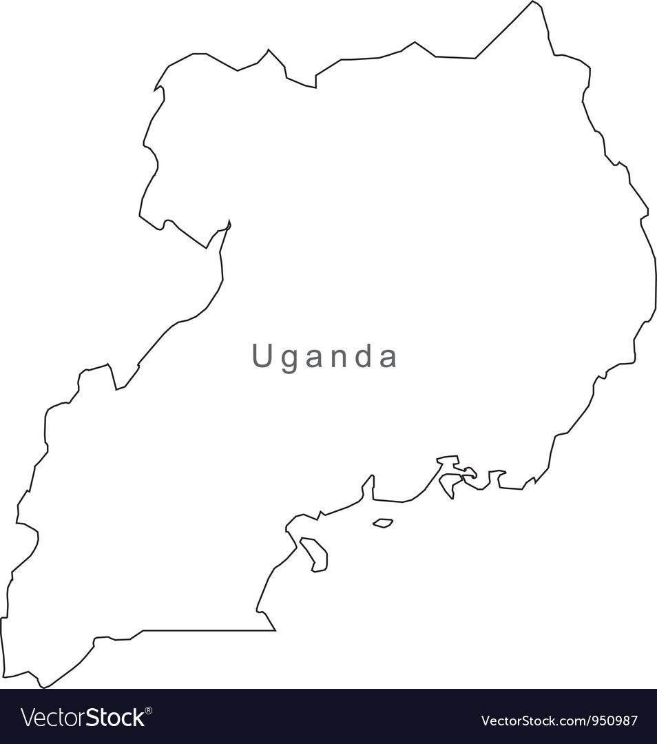 Black white uganda outline map vector | Price: 1 Credit (USD $1)