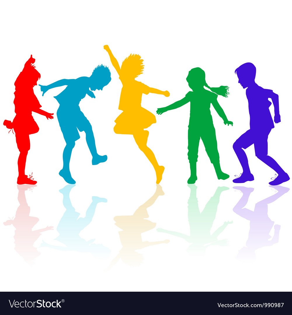 Colored silhouettes of happy children playing vector | Price: 1 Credit (USD $1)