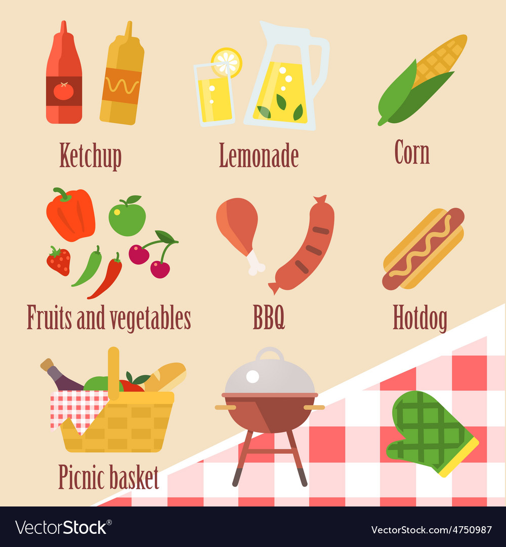 Elements of a barbecue party vector | Price: 1 Credit (USD $1)