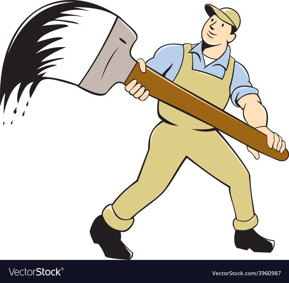 House painter giant paintbrush isolated cartoon vector | Price: 1 Credit (USD $1)