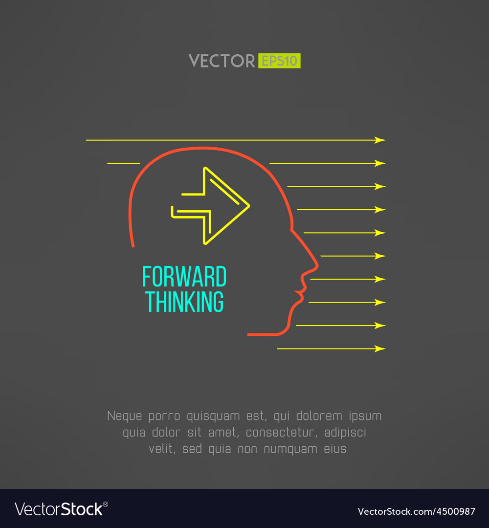 Man face with arrows forward thinking concept vector | Price: 1 Credit (USD $1)