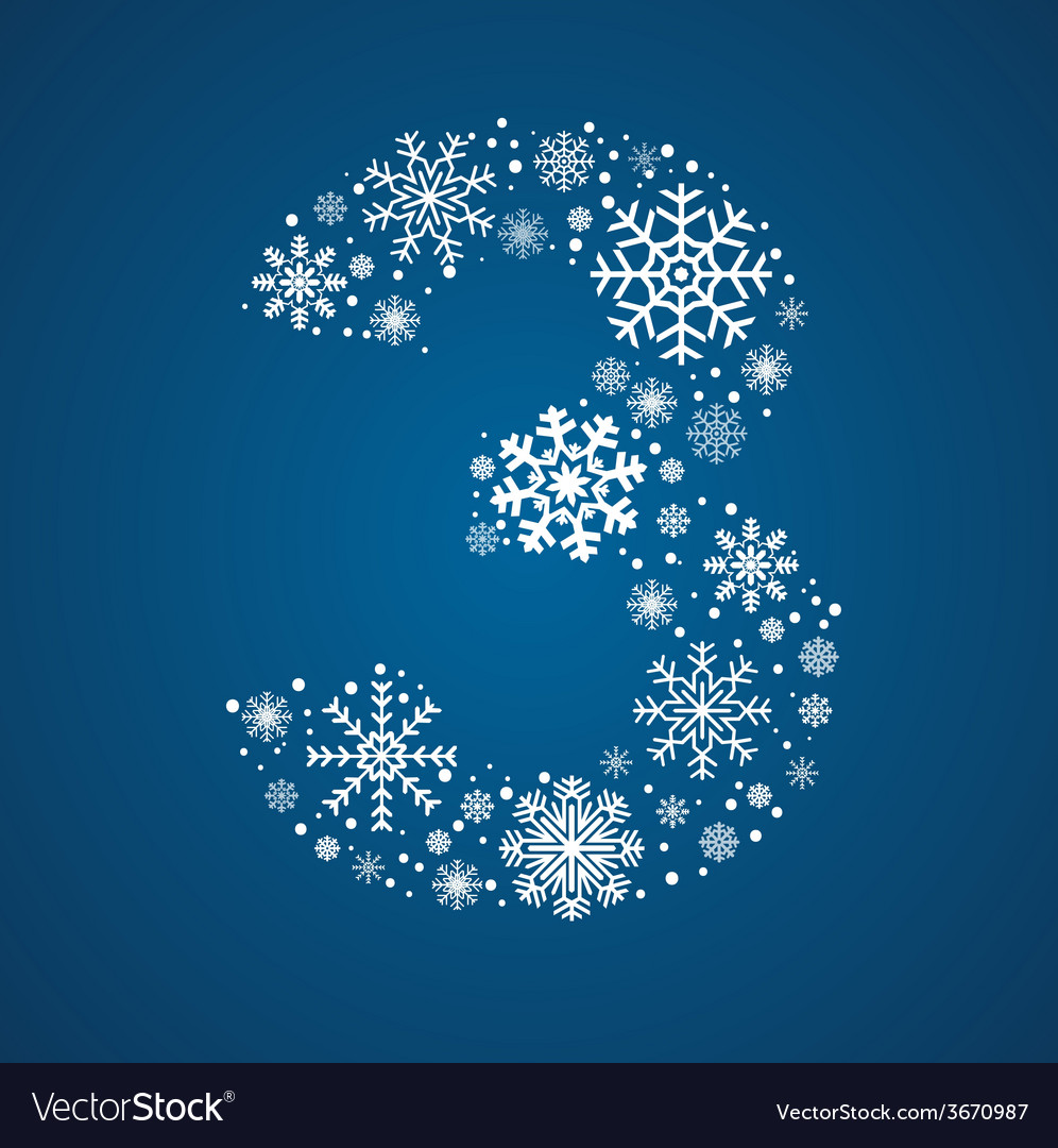 Number 3 font frosty snowflakes vector | Price: 1 Credit (USD $1)