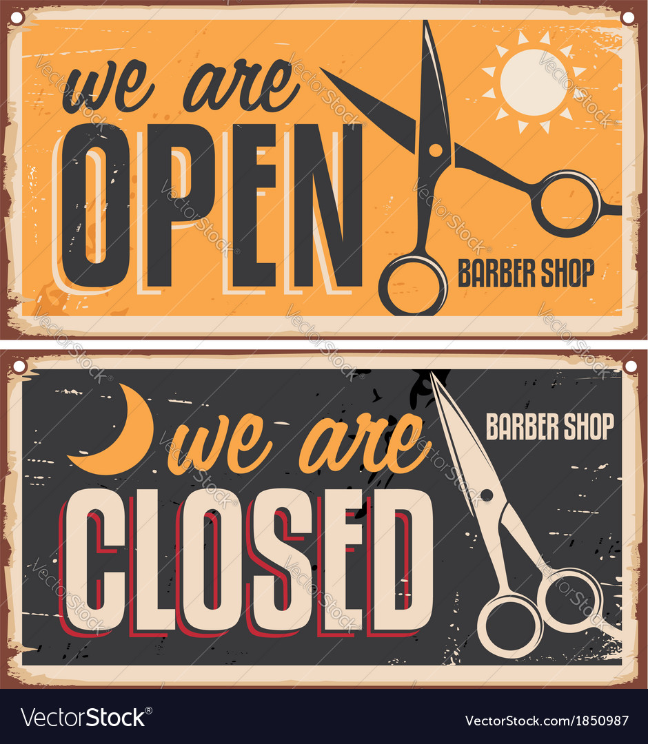 Retro door signs for barber shop vector | Price: 1 Credit (USD $1)