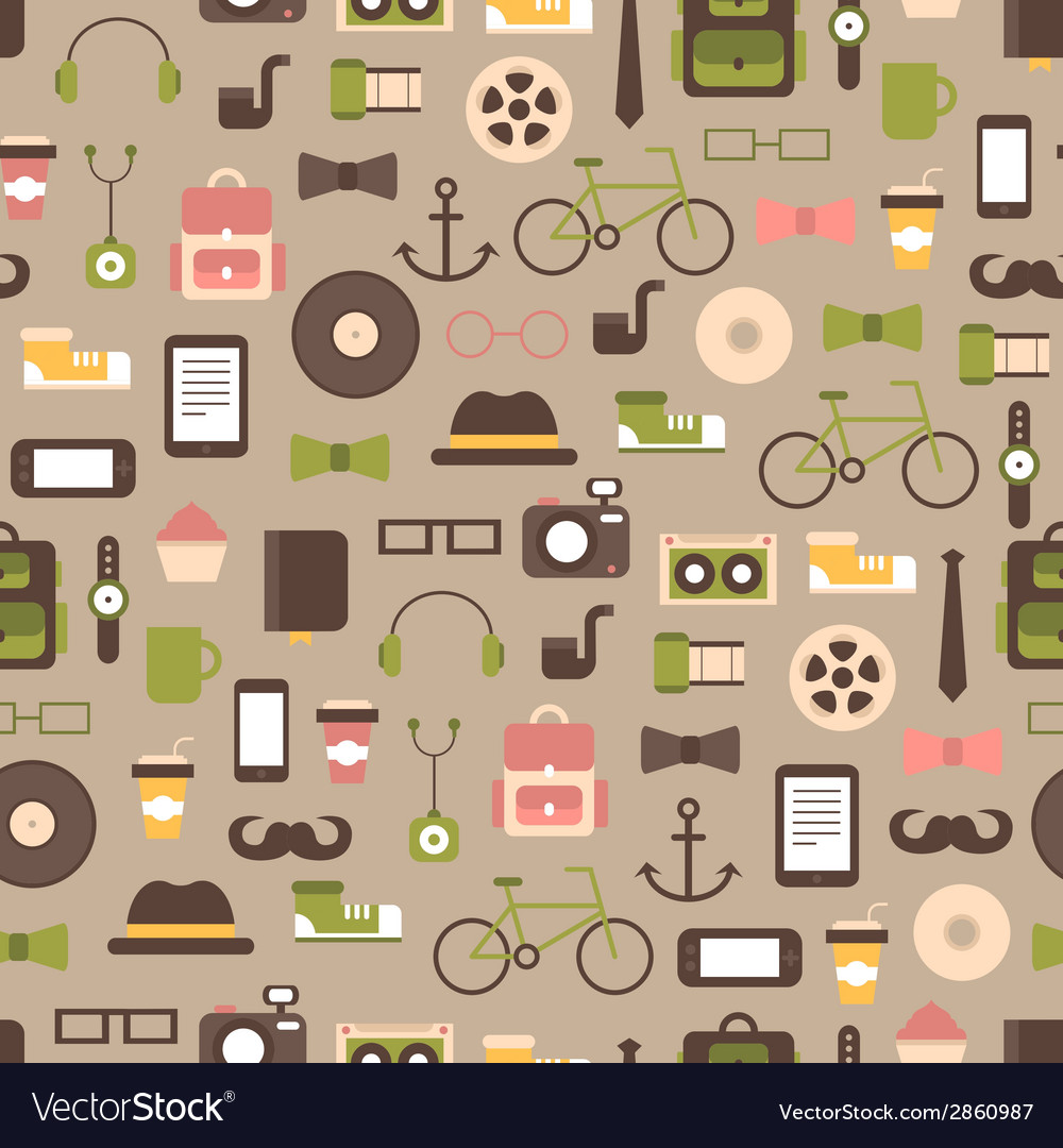 Seamless pattern of hipster colorful style vector   Price: 1 Credit (USD $1)