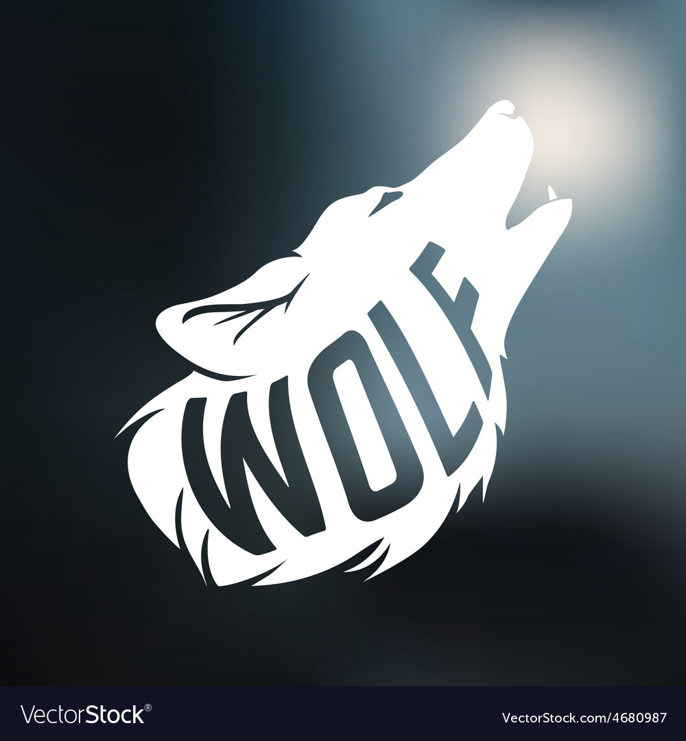 Wolf silhouette with concept text inside on blur vector | Price: 1 Credit (USD $1)
