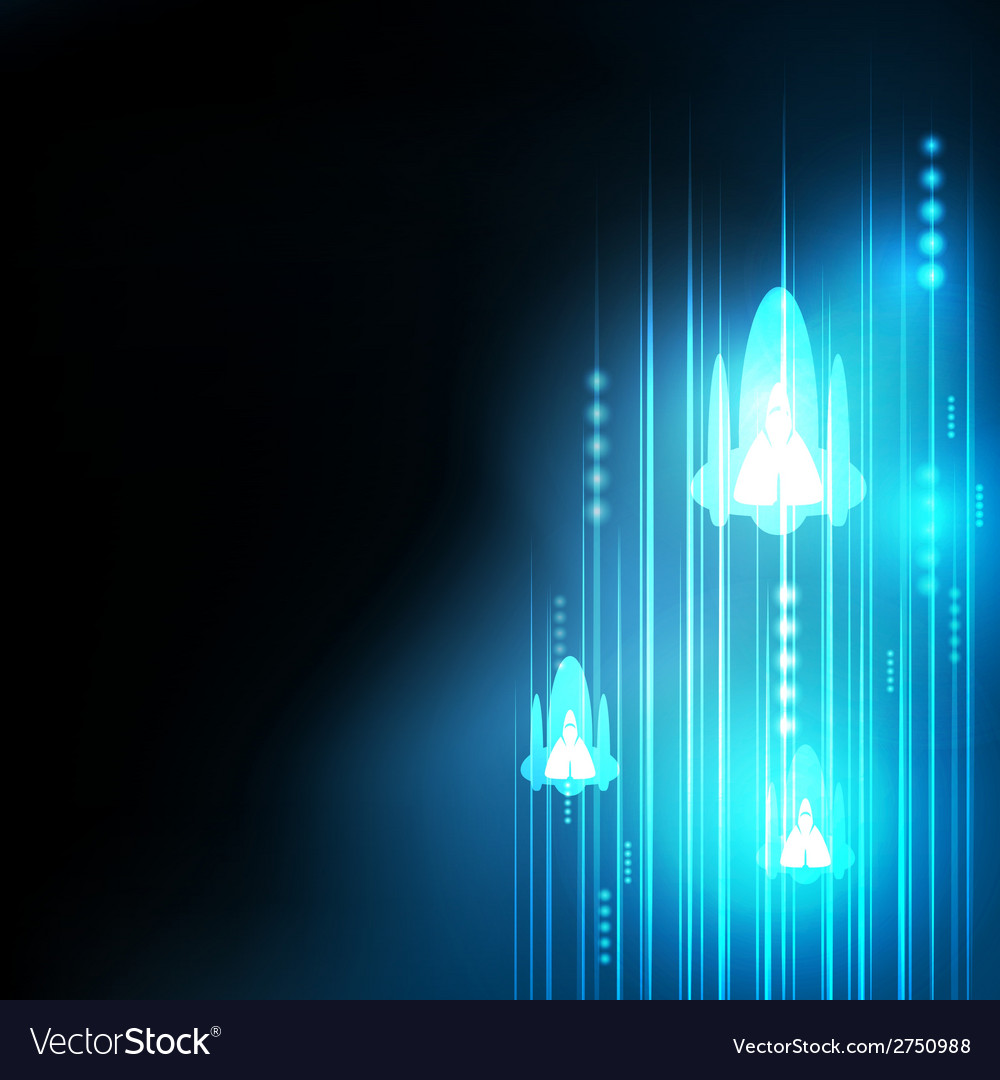 Abstract blue rocket technology communicate vector | Price: 1 Credit (USD $1)