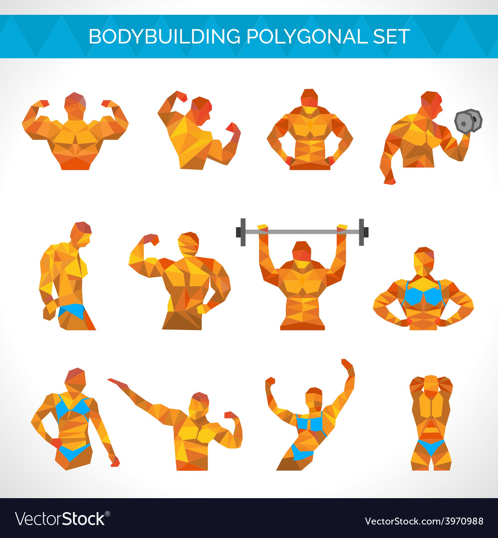 Bodybuilding polygonal icons set vector | Price: 1 Credit (USD $1)