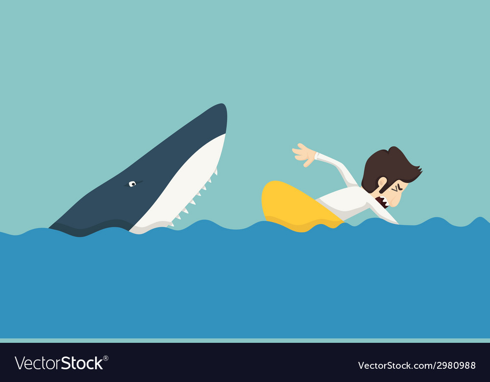 Businessman swimming to escape sharks vector