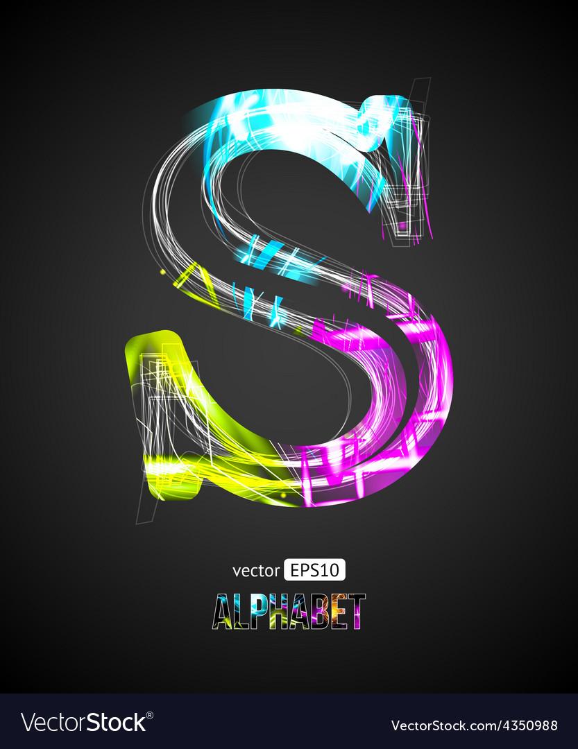 Design light effect alphabet letter s vector | Price: 1 Credit (USD $1)