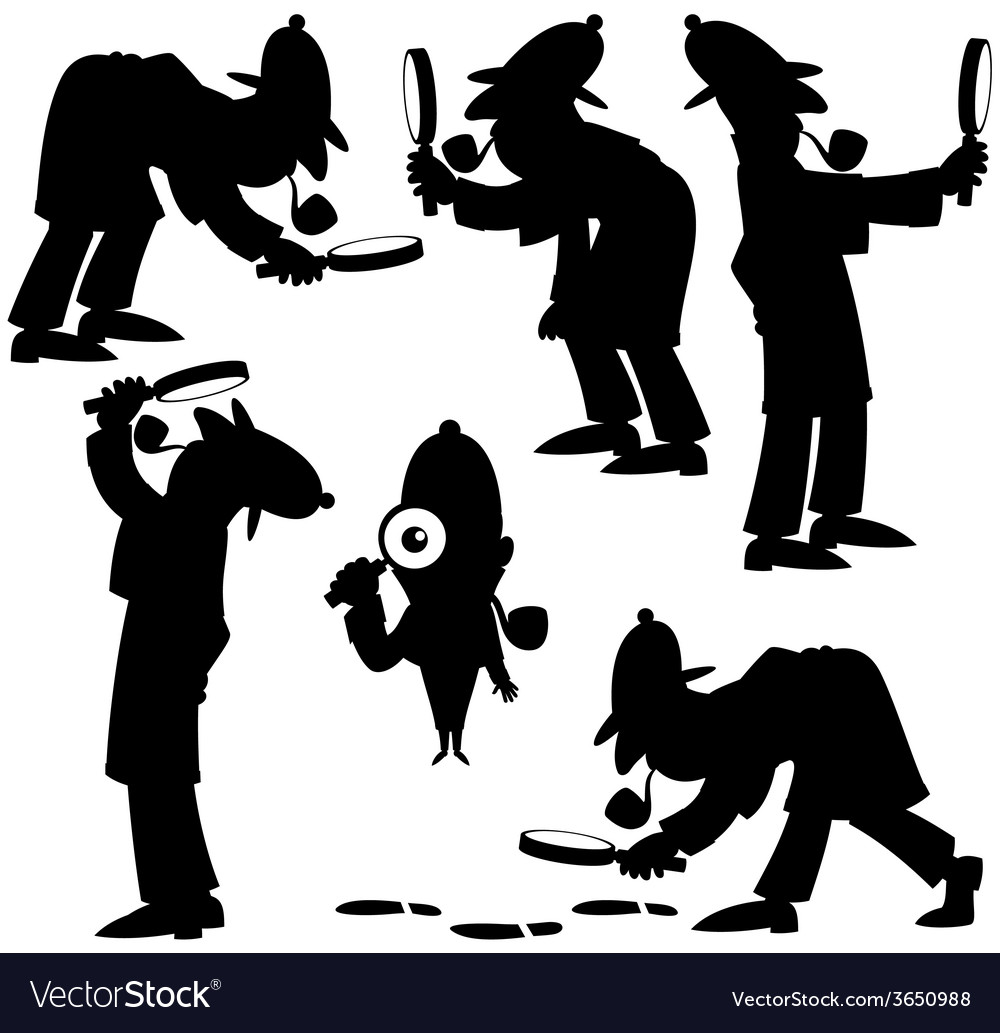 Detective silhouettes vector | Price: 1 Credit (USD $1)