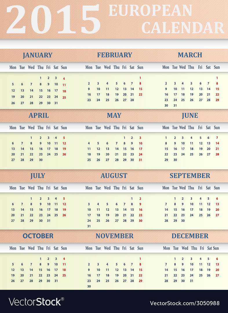 European calendar for 2015 vector | Price: 1 Credit (USD $1)