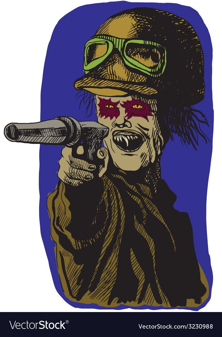 From beyond series monster with a revolver vector | Price: 1 Credit (USD $1)