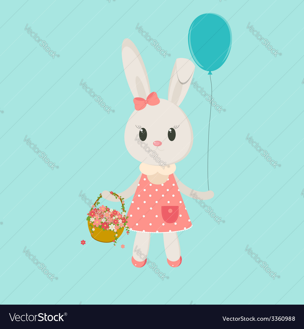 Image bunny girl with basket vector | Price: 1 Credit (USD $1)