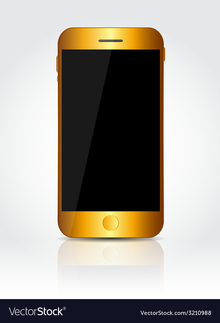 New realistic gold mobile phone with black screen vector | Price: 1 Credit (USD $1)