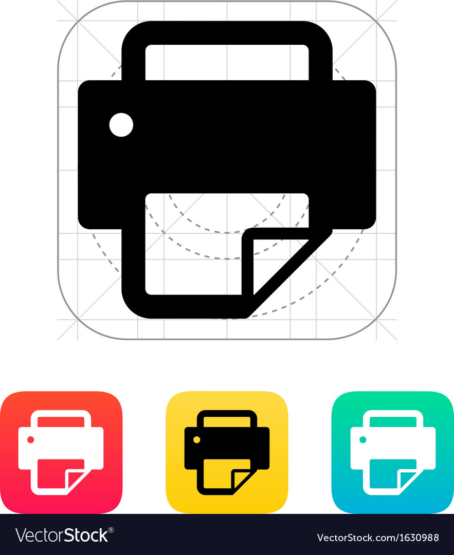 Printer with document icon vector | Price: 1 Credit (USD $1)