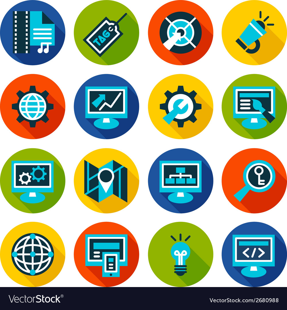 Seo and internet optimization flat icon set vector | Price: 1 Credit (USD $1)