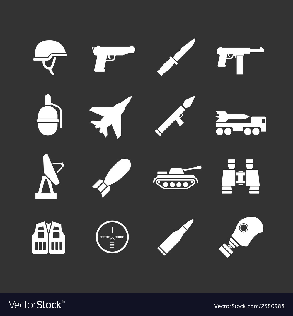Set icons of army and military vector | Price: 1 Credit (USD $1)