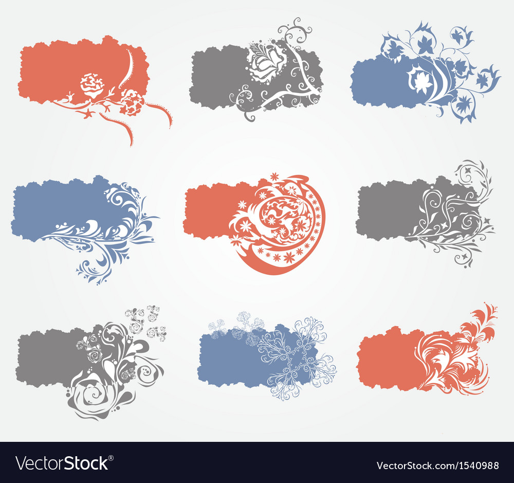 Set of 9 floral banners vector | Price: 1 Credit (USD $1)