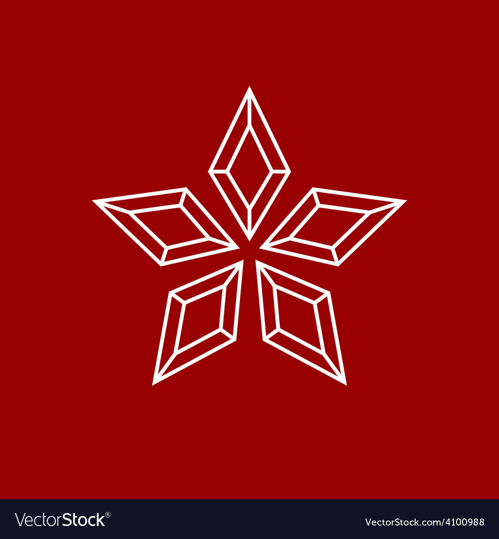 Star made of separate diamond wireframes logo vector