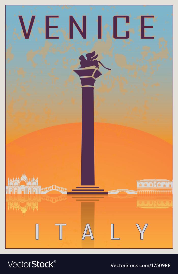 Venice vintage poster vector | Price: 1 Credit (USD $1)