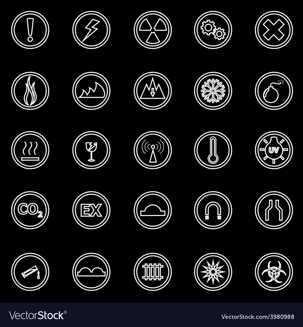 Warning sign line icons on black background vector | Price: 1 Credit (USD $1)