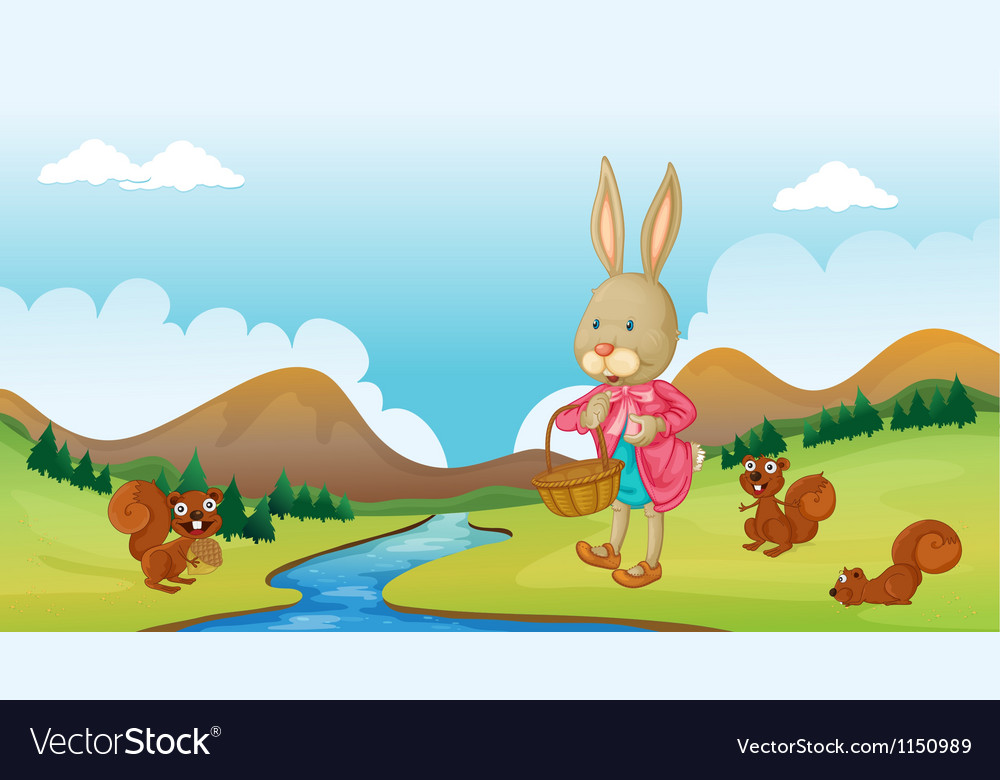 A bunny and squirrels vector | Price: 1 Credit (USD $1)