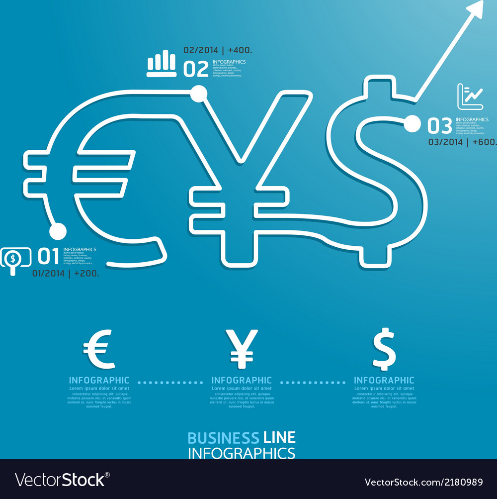 Business diagram money currency line style vector | Price: 1 Credit (USD $1)