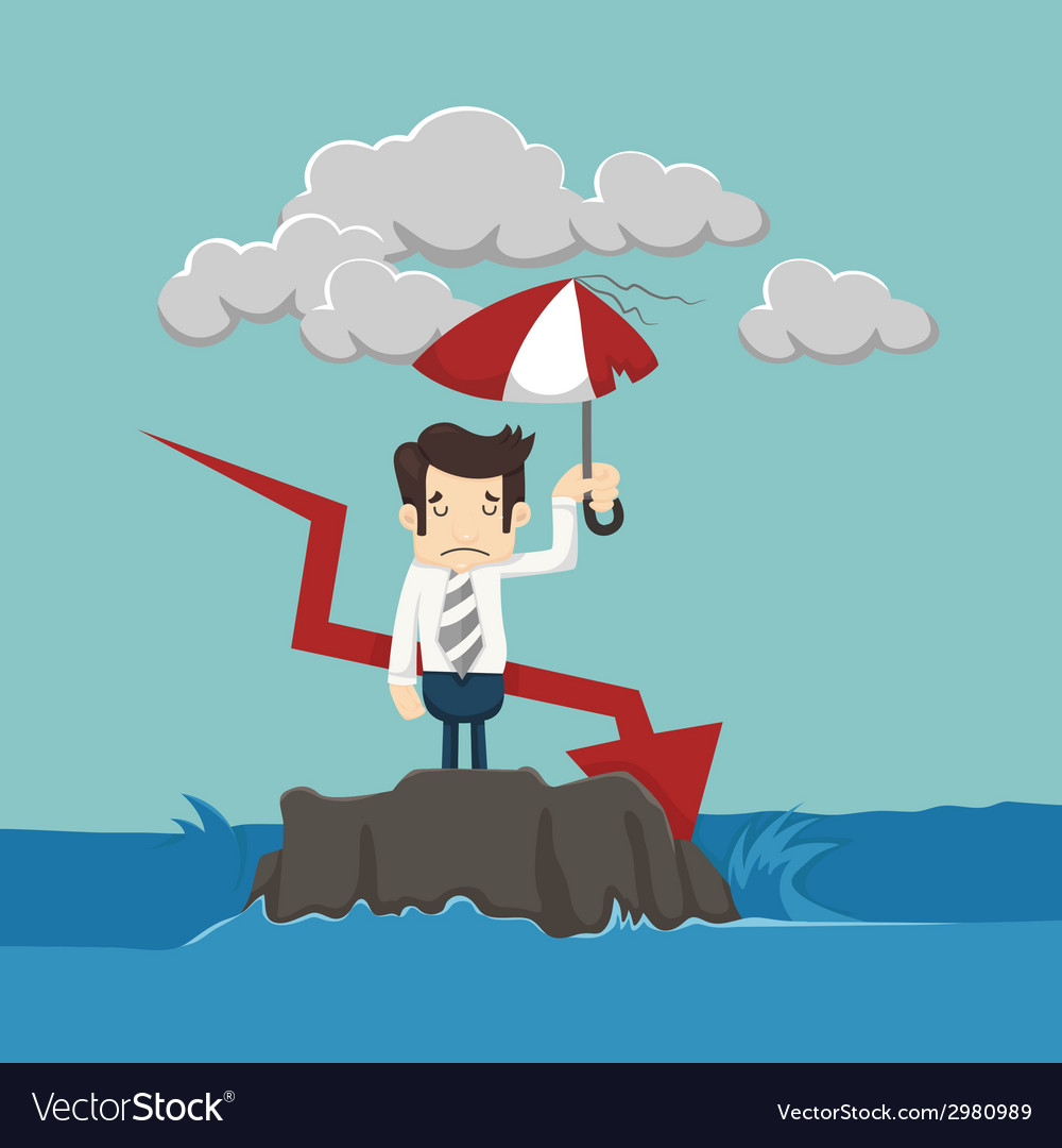 Businessman with umbrella standing in the sea vector | Price: 1 Credit (USD $1)
