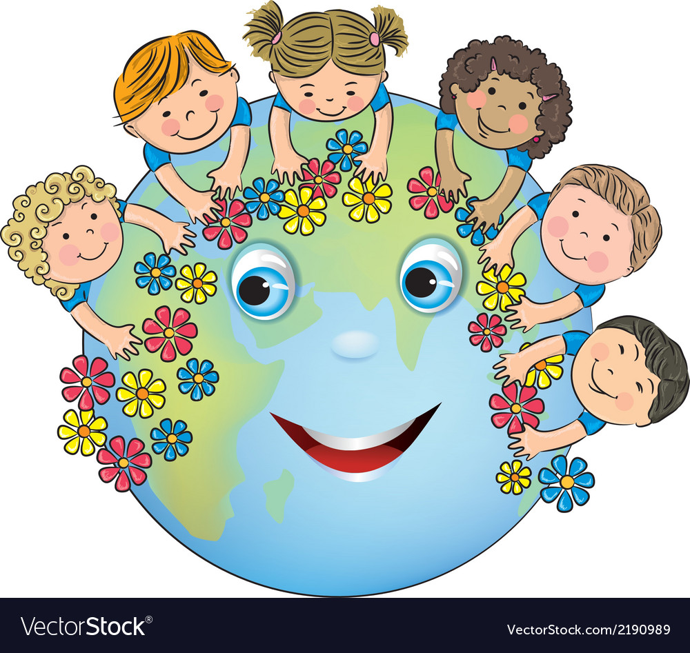 Children hugging planet earth vector | Price: 1 Credit (USD $1)