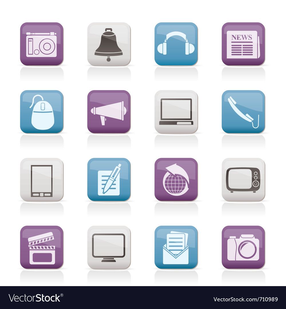 Communication and media icons vector | Price: 1 Credit (USD $1)